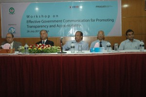 Md. Makbul Ahmed, Director General, National Institute of Mass Communication (NIMC);  Professor Dr. A A M S Arefin Siddique, VC, Dhaka University; Mr. Nepal Chandra Sarker, Secretary, Information Commission, Bangladesh; Professor Dr. Golam Rahman, Department of Mass Communication and Journalism, University of Dhaka and Mir Masrur Zaman, Director, SoMaSHTe and News-Editor, Channel i (from left)